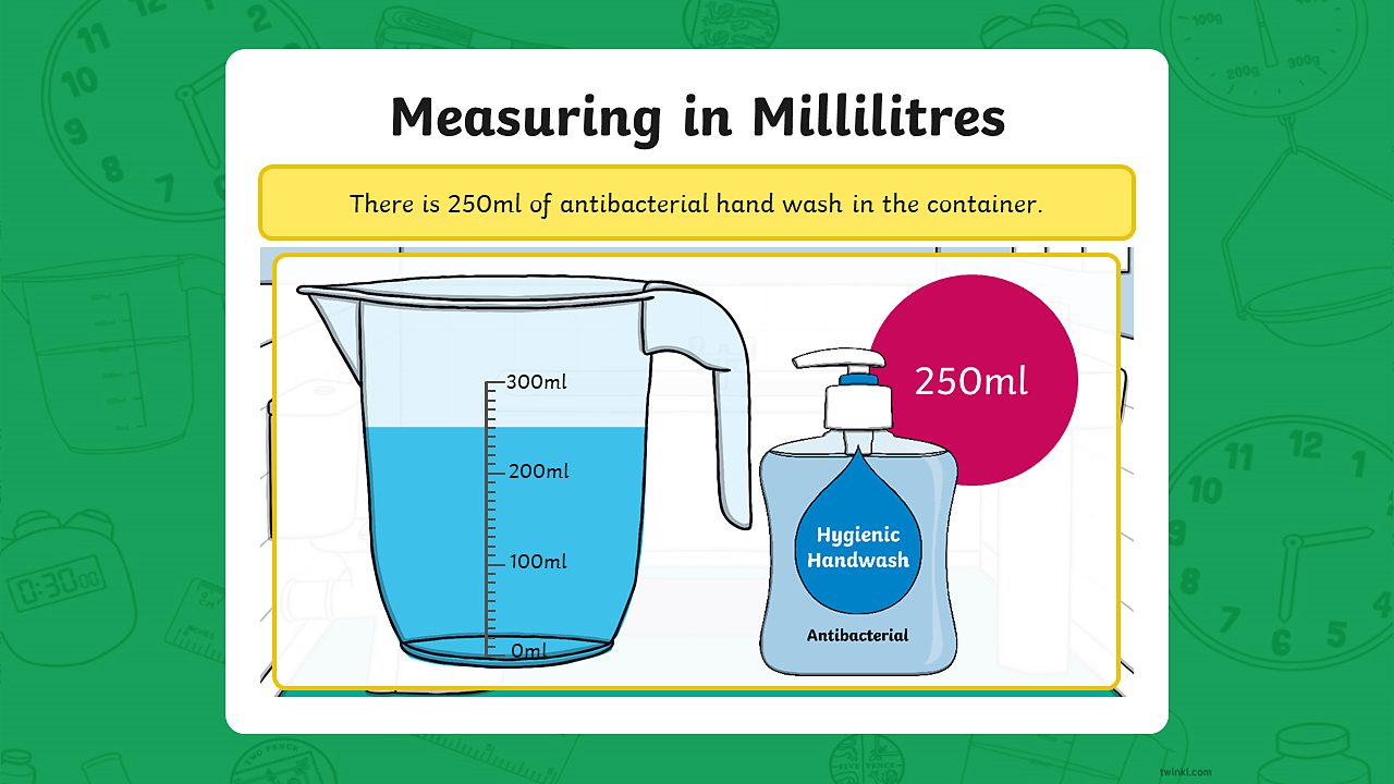 A measuring jug containing 250 millilitres of hand wash.