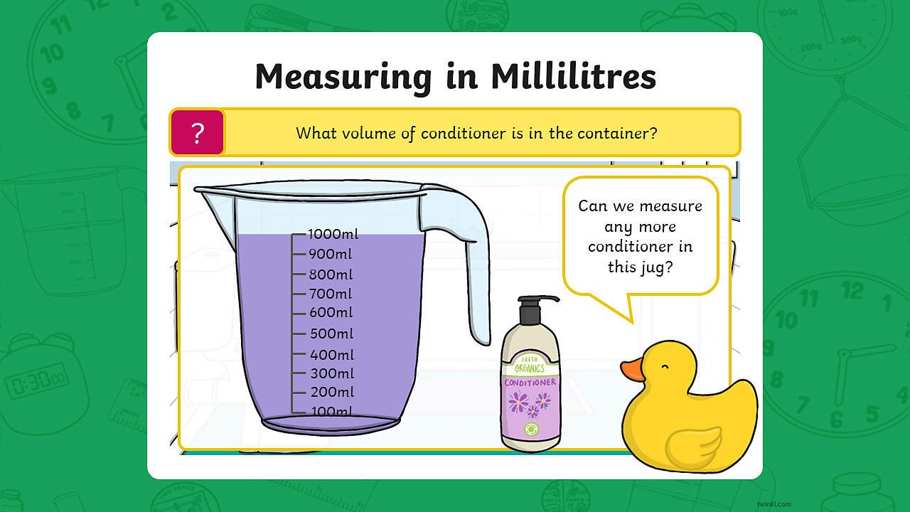 A measuring jug containing 1000 millilitres of conditioner. The scale on the jug is counting up in 100 millilitres. The jug has a capacity of 1000 millilitres.