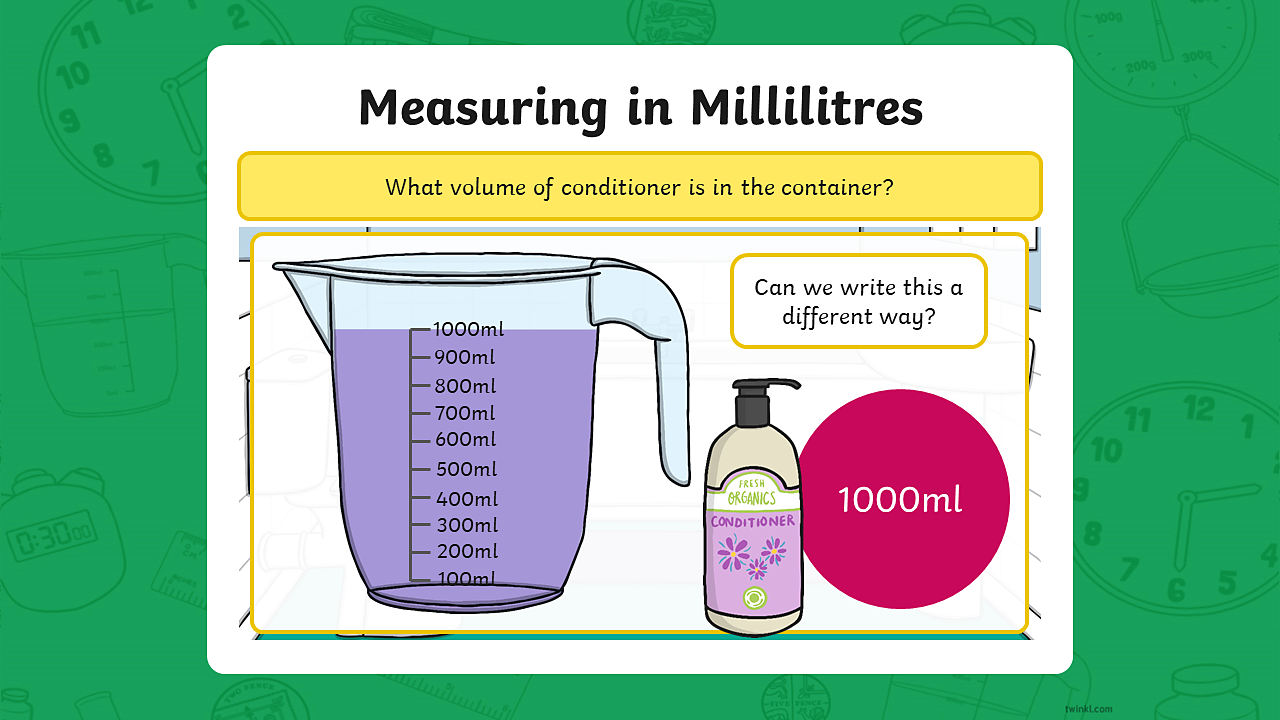 A measuring jug containing 1000 millilitres of conditioner.