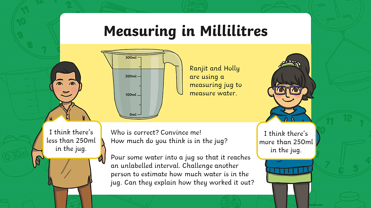A measuring jug containing approximately 240 millilitres of water. The scale on the jug is counting up in 100 millilitres. The jug has a capacity of 300 millilitres.