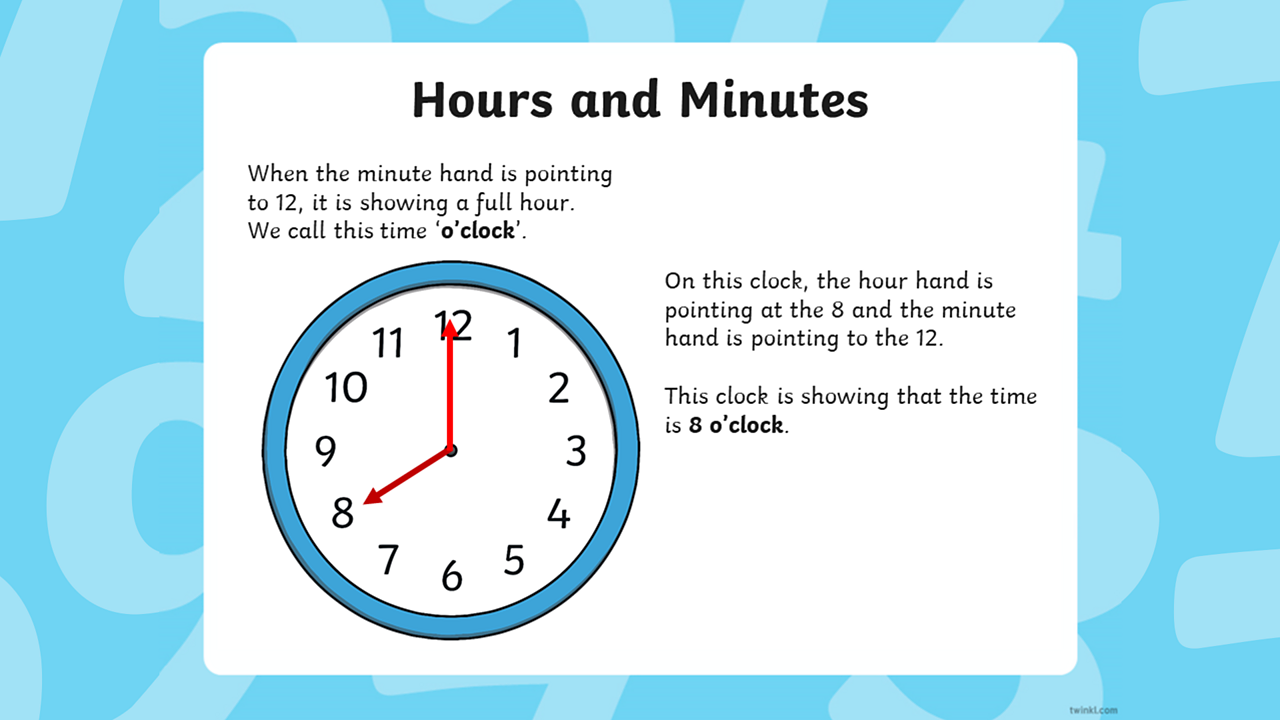 The minute hand points at 12 and the hour hand points at 8.