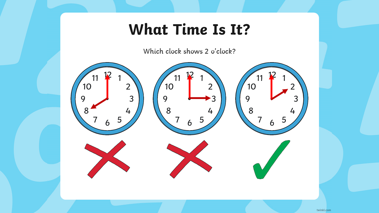 The first two clocks on the left have crosses underneath (to indicate they do not show 2 o'clock) and the clock on the right has tick underneath (to indicate it is the correct answer).