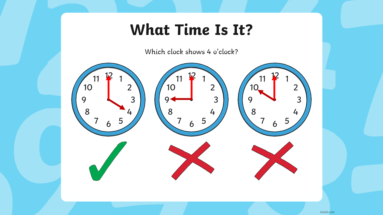 The clock on the left has a tick underneath (indicating that it is correct) and the other two clocks have crosses underneath (indicating that they are incorrect).