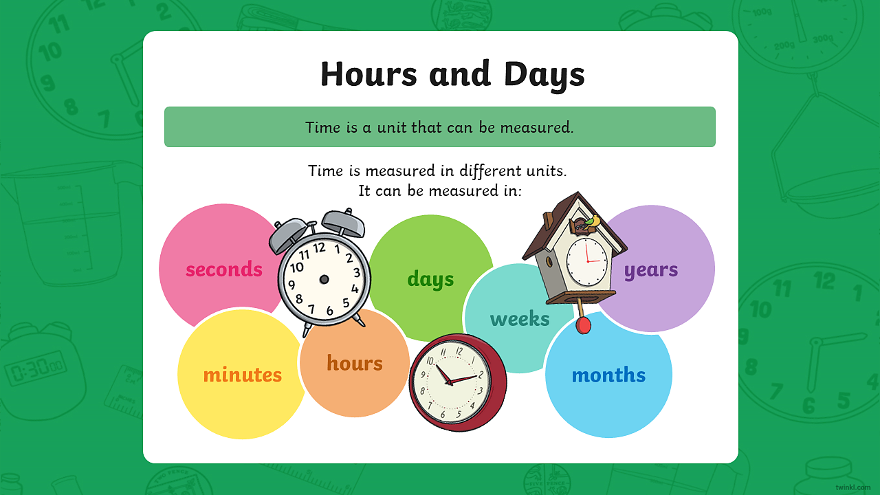 Image showing different types of clocks and the different measurements of time.