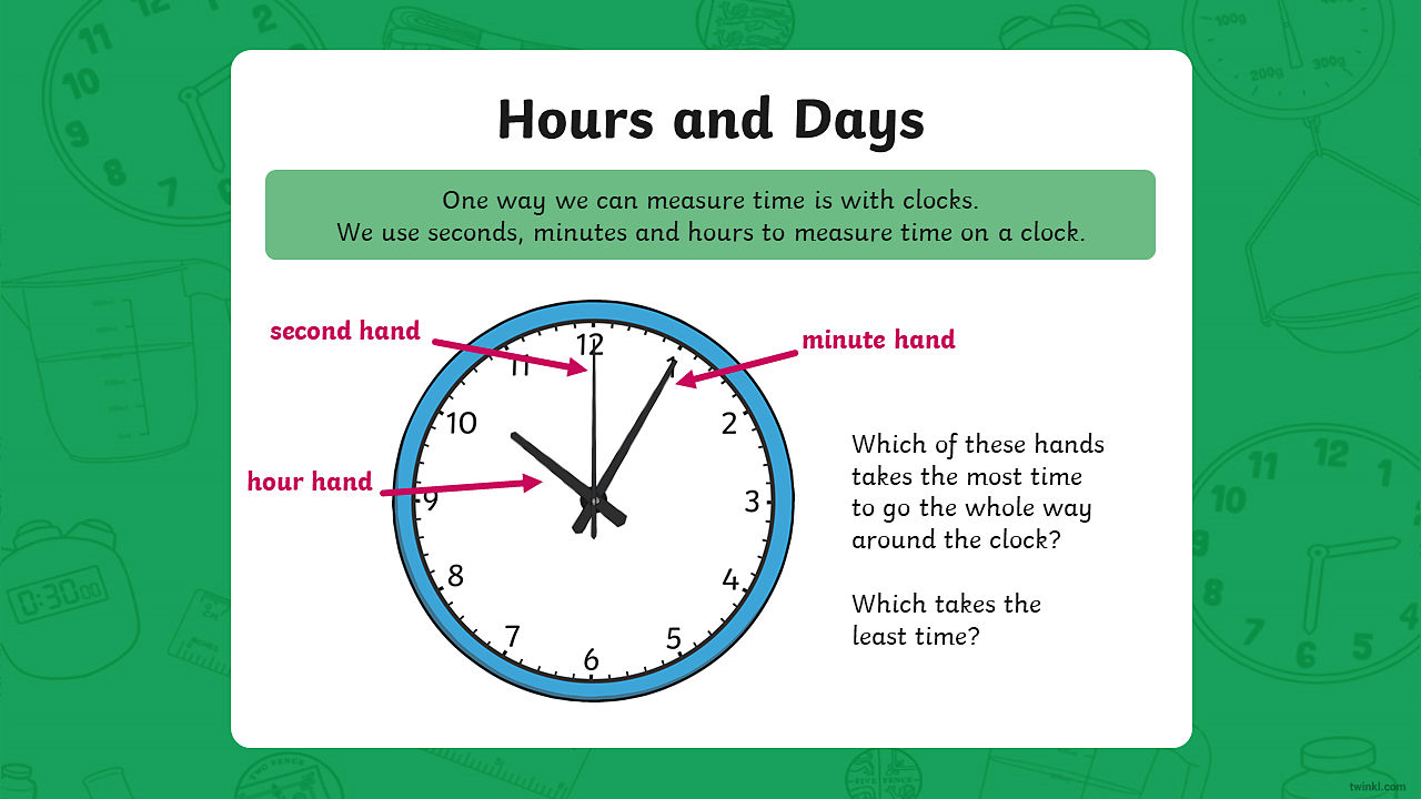 An image of a clock showing an hour hand, a minute hand and a second hand. The time shown is 10:05 with the second hand pointing at 12.