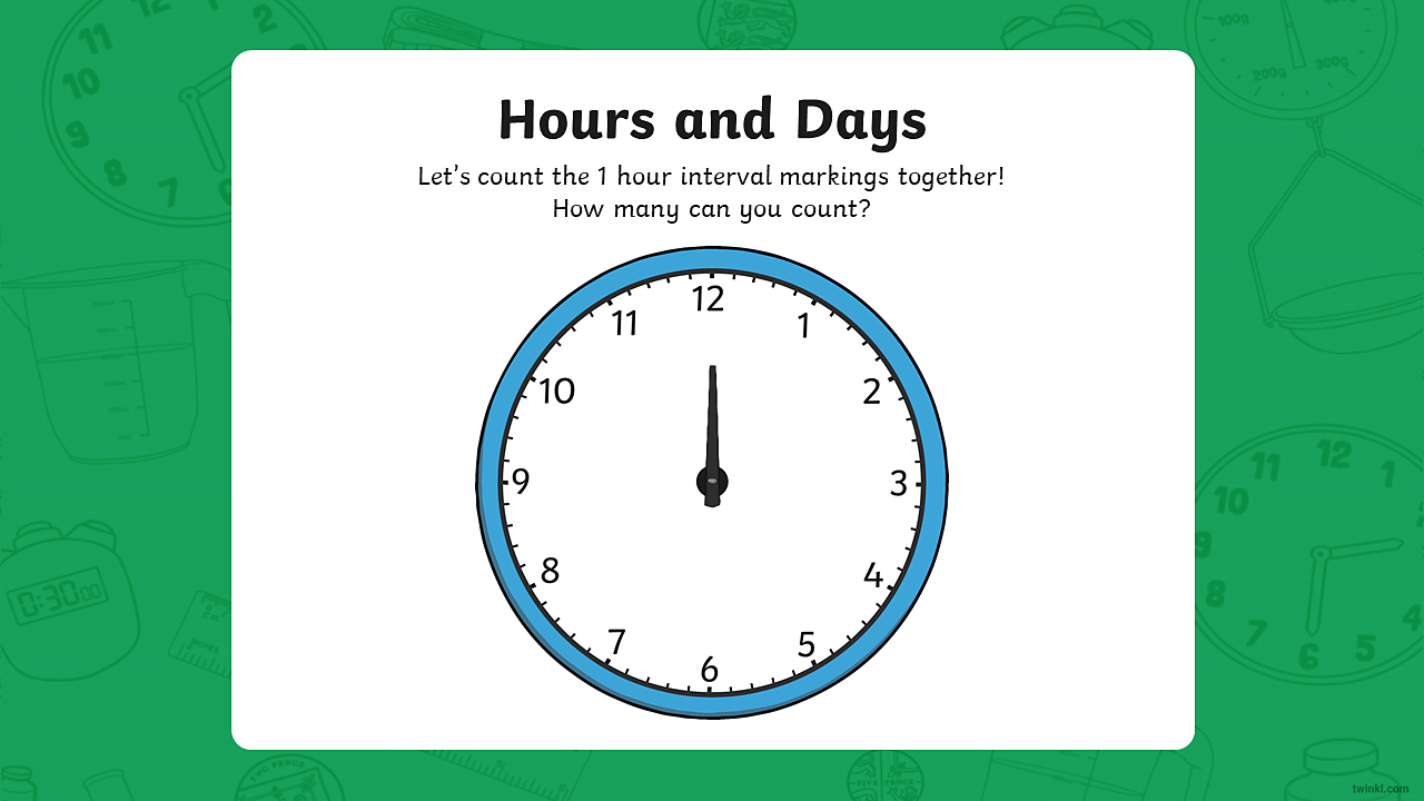 An image of a clock showing just the hour hand. The clock shows 12 hour interval markings.