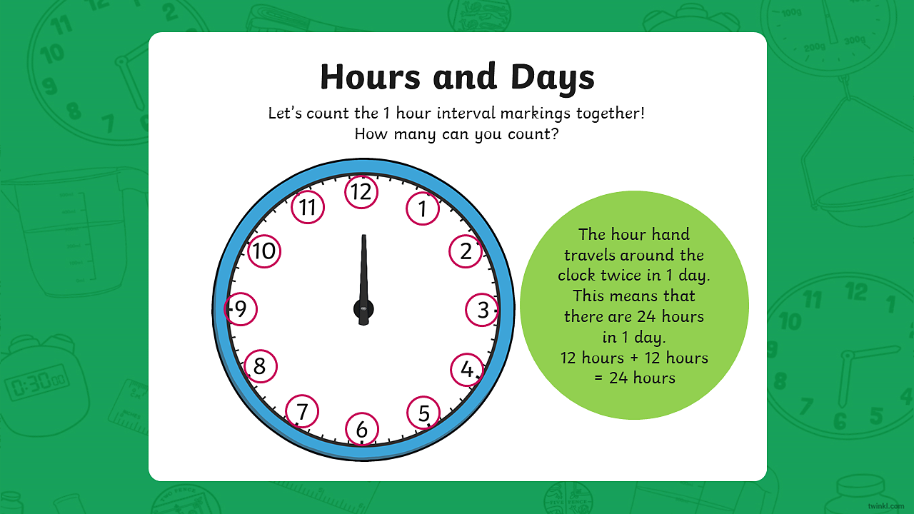 An image of a clock showing just the hour hand. The clock shows 12 hour interval markings which are circled in red.
