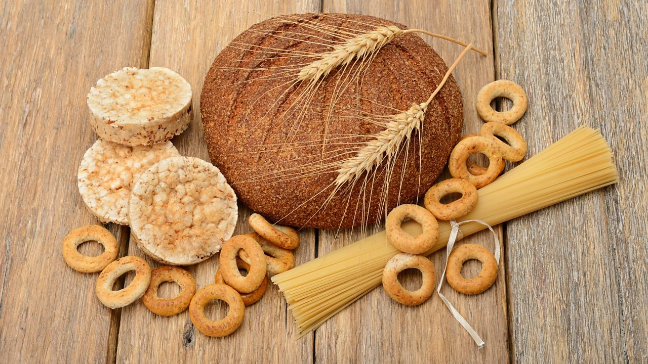 Various foods made from grains: bread, pasta and pastries