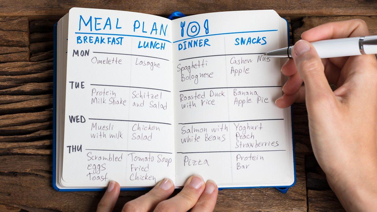 Handwritten meal plan