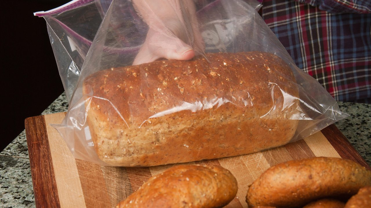Bread being stored in a plastic bag
