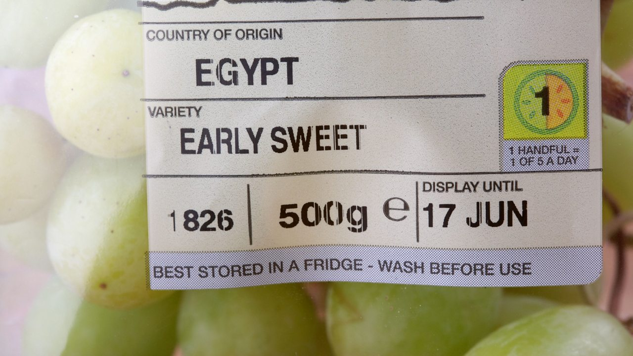 Packet of grapes with country of origin label