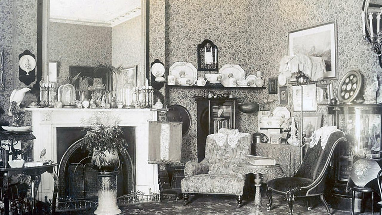 A Victorian sitting room, complete with many ornaments.