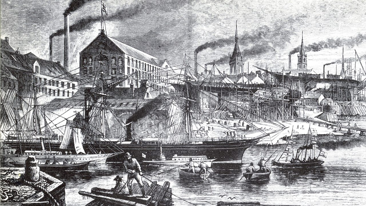 A view of a busy River Clyde during the Victoria era
