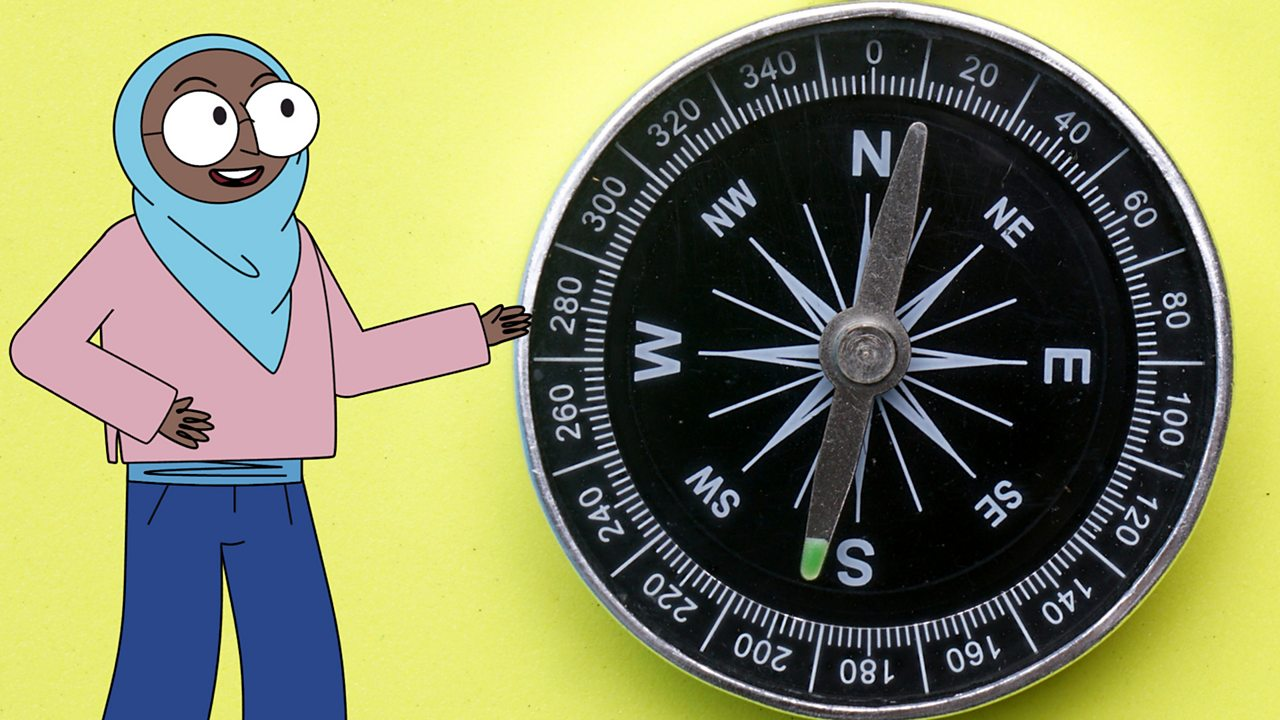 A compass showing 8 points: north, north-east, east, south-east, south, south-west, west and north-west.