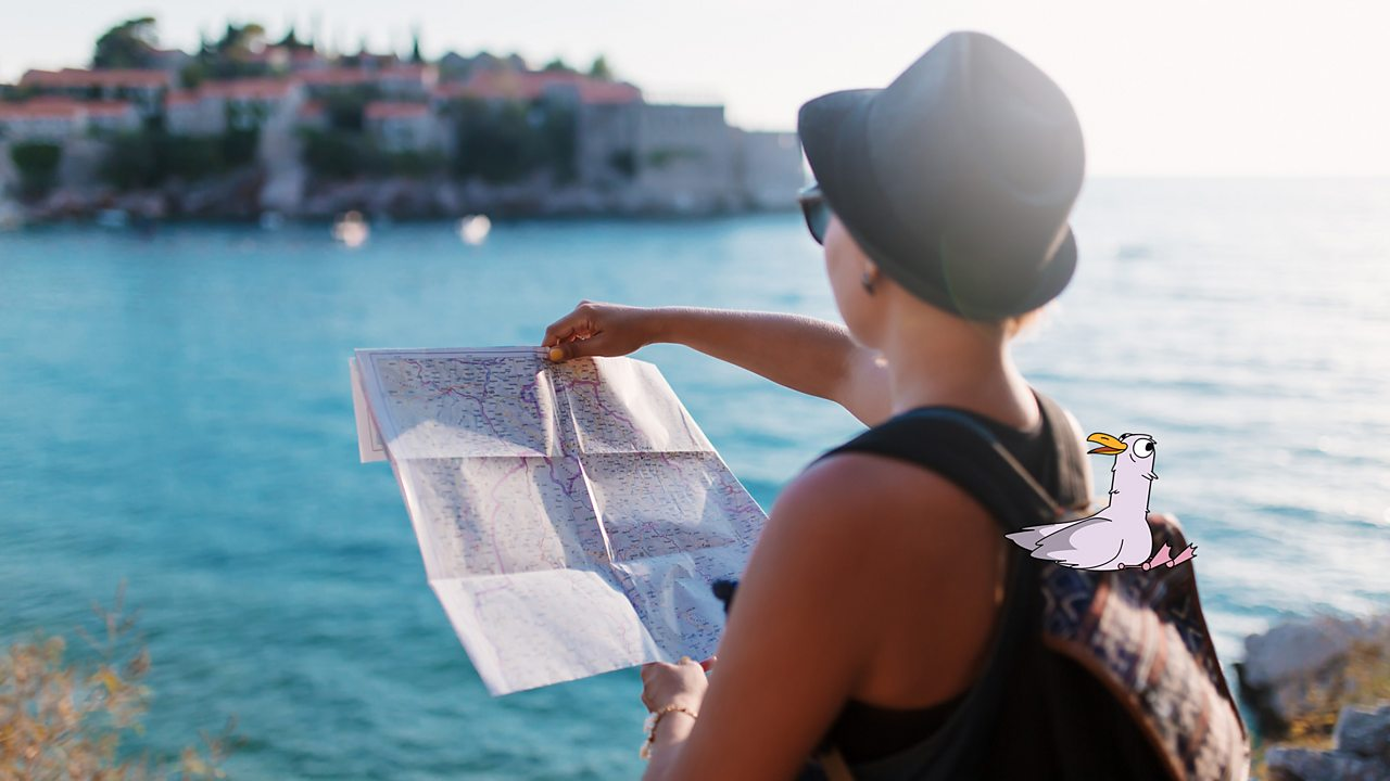 A woman is looking at a map by the seaside