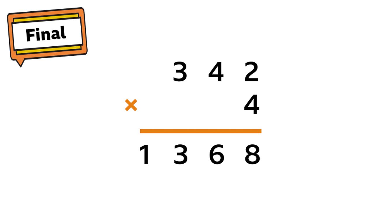Final step sign: 342 × 4 = 1368