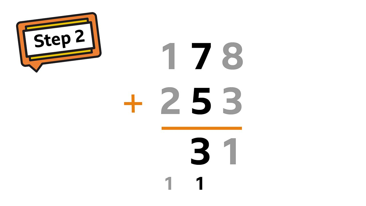Now move to the tens column. remember we have carried 1 from the previous column : 7 + 5 + 1 = 13. Again partition the number and carry 1 over to the hundreds column. Mark it with a 1 below the hundreds column.