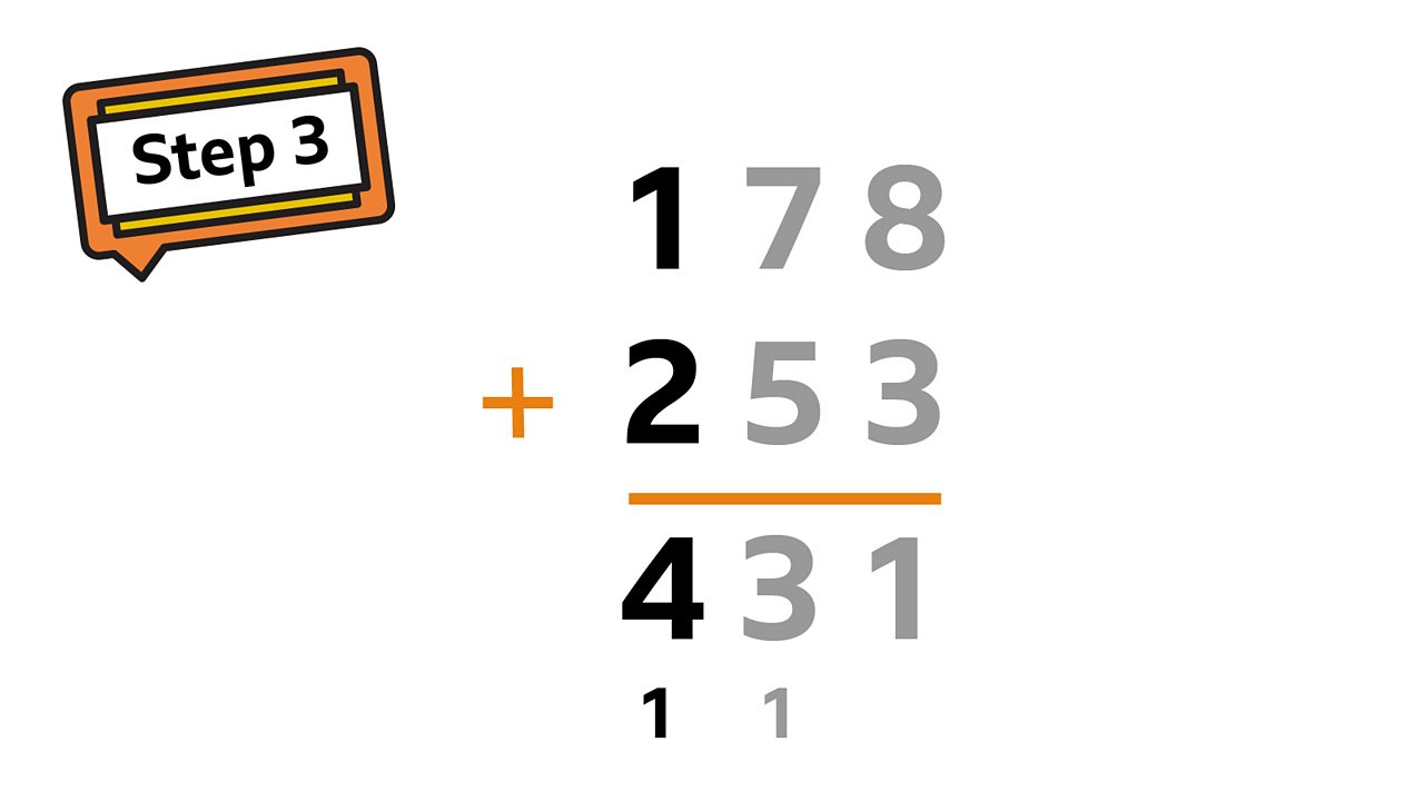 Lastly, add up all the hundreds in the hundreds column: 100 + 2 + 1 = 4.