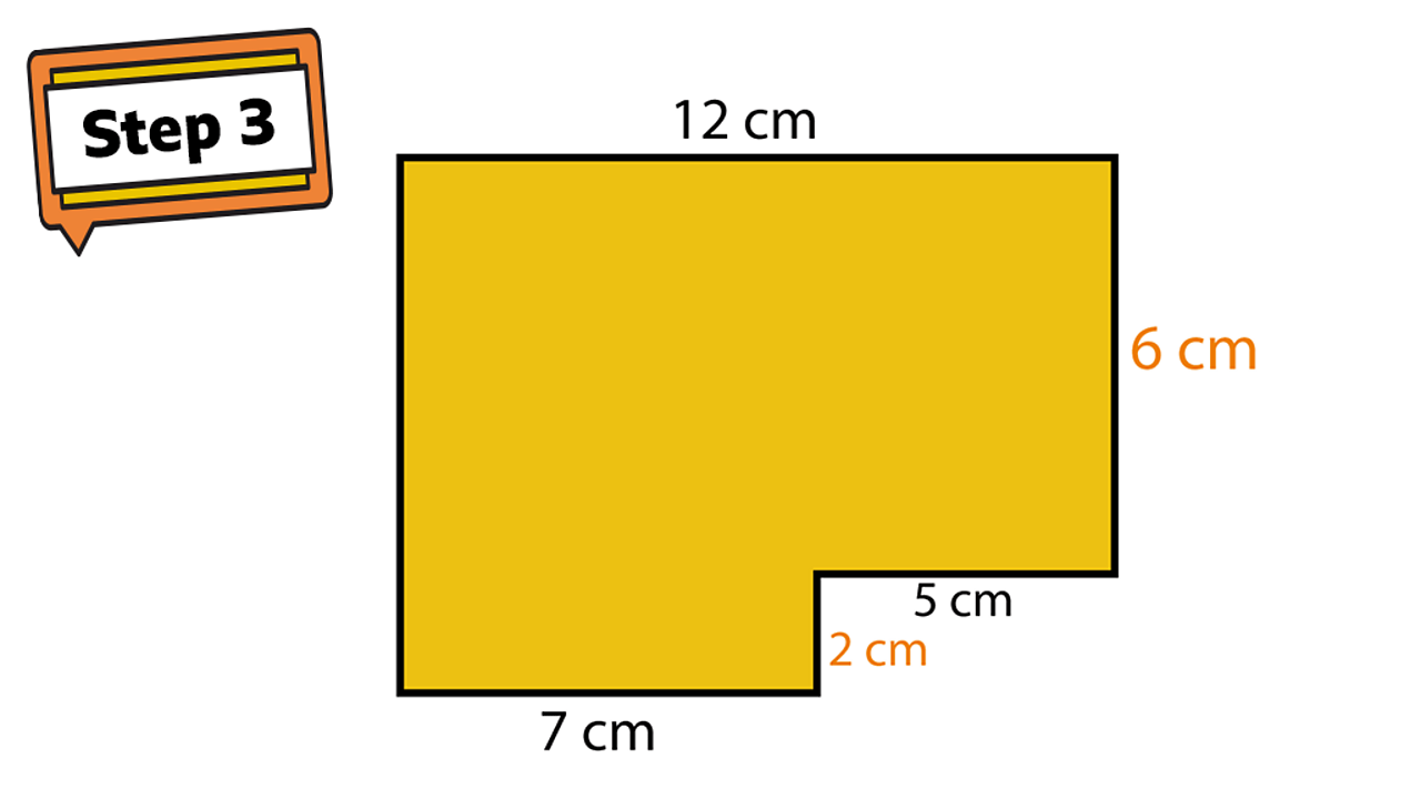 Step 3. A rectilinear shape. Sides show 7cm, 2cm, 5cm, 6cm and 12cm.