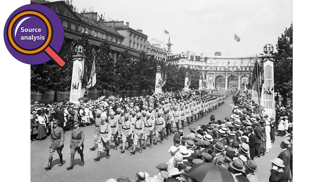 Crowds gather to watch soldiers from the British Empire at peace parades in London.