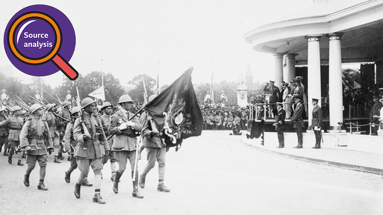Marching Portuguese soldiers at victory celebrations in London.