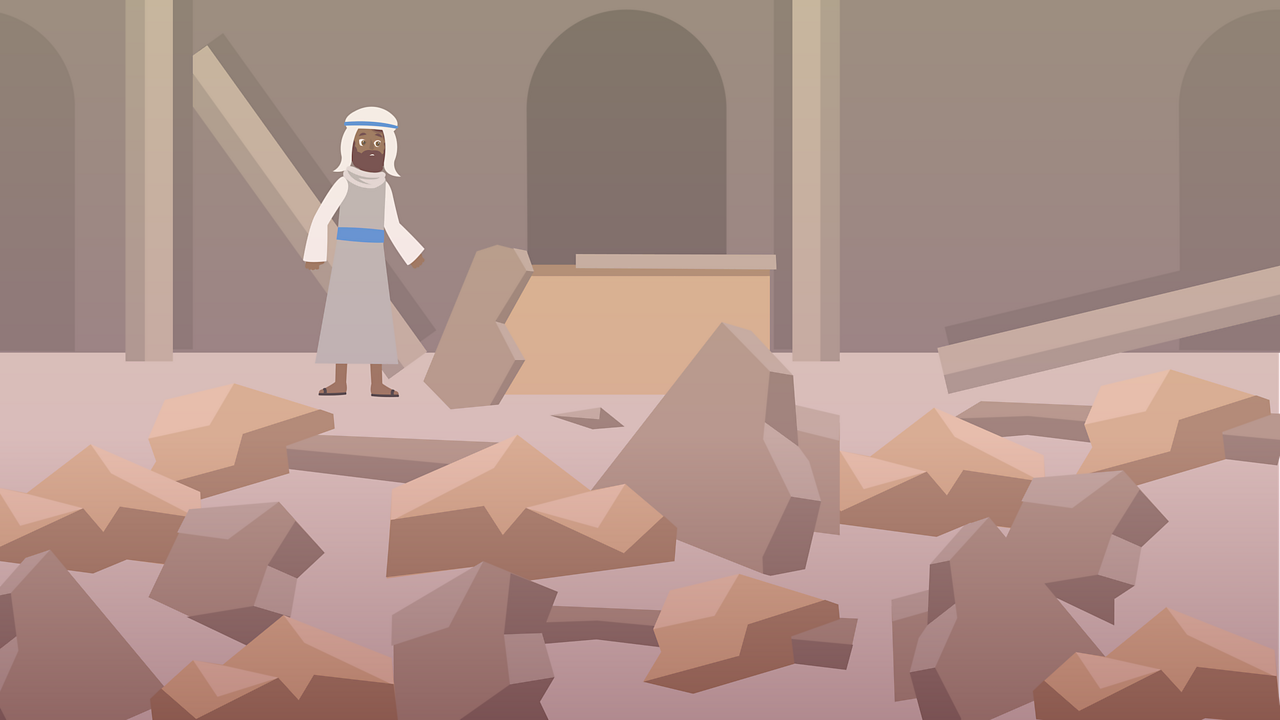 When the Jews went back to their temple, they saw that it had nearly been destroyed.