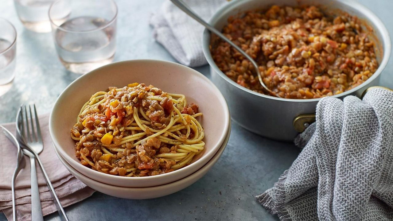 Add yeast extract to an easy lentil bolognese for depth of flavour