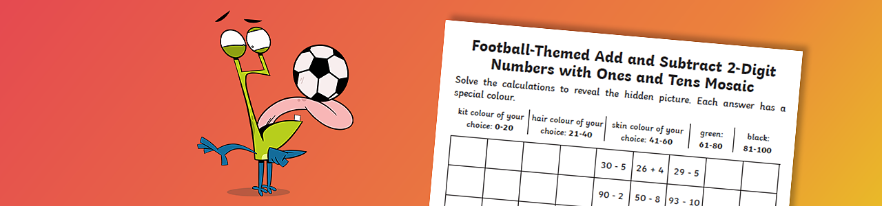 Football-themed add and subtract two digit numbers