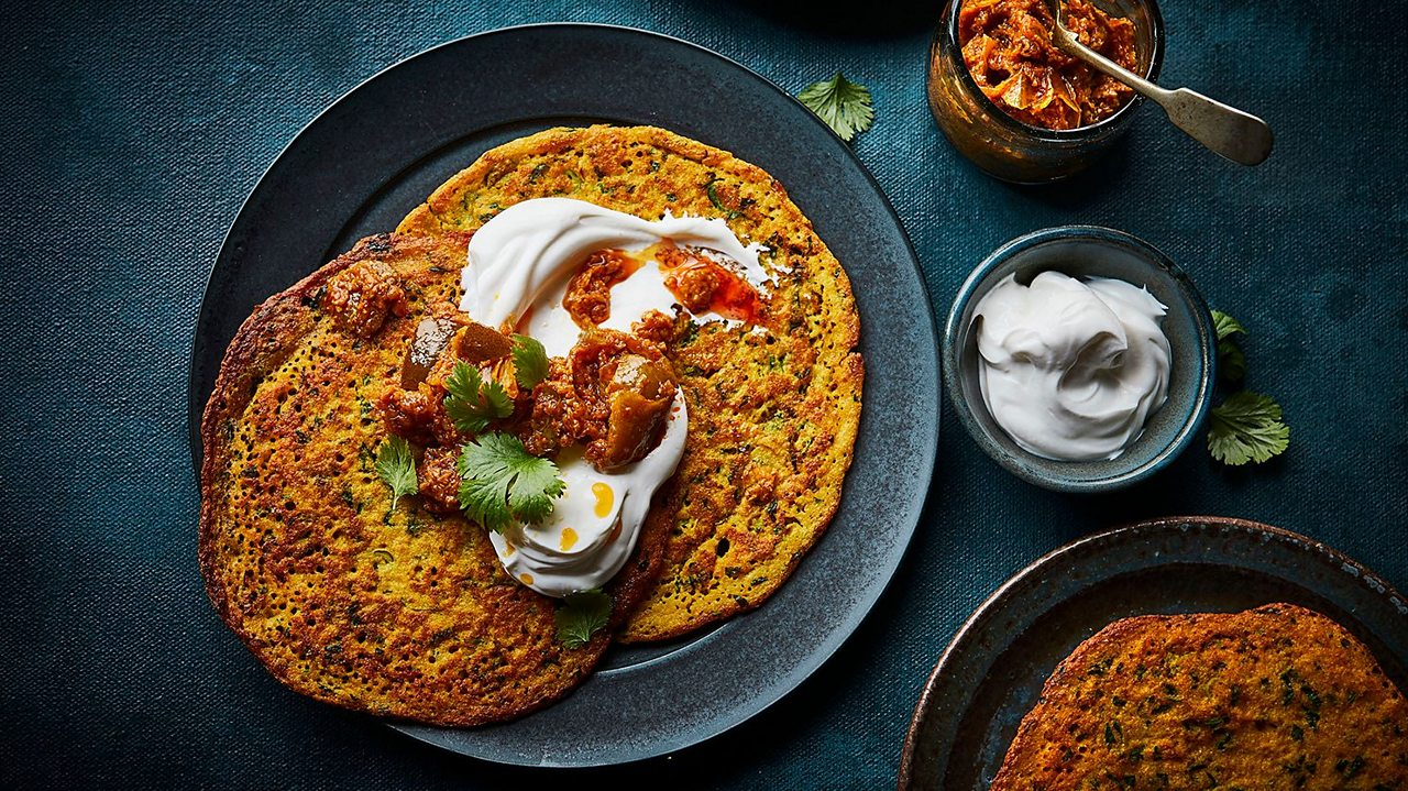Red lentil pancakes are delicious with sweet or savoury toppings