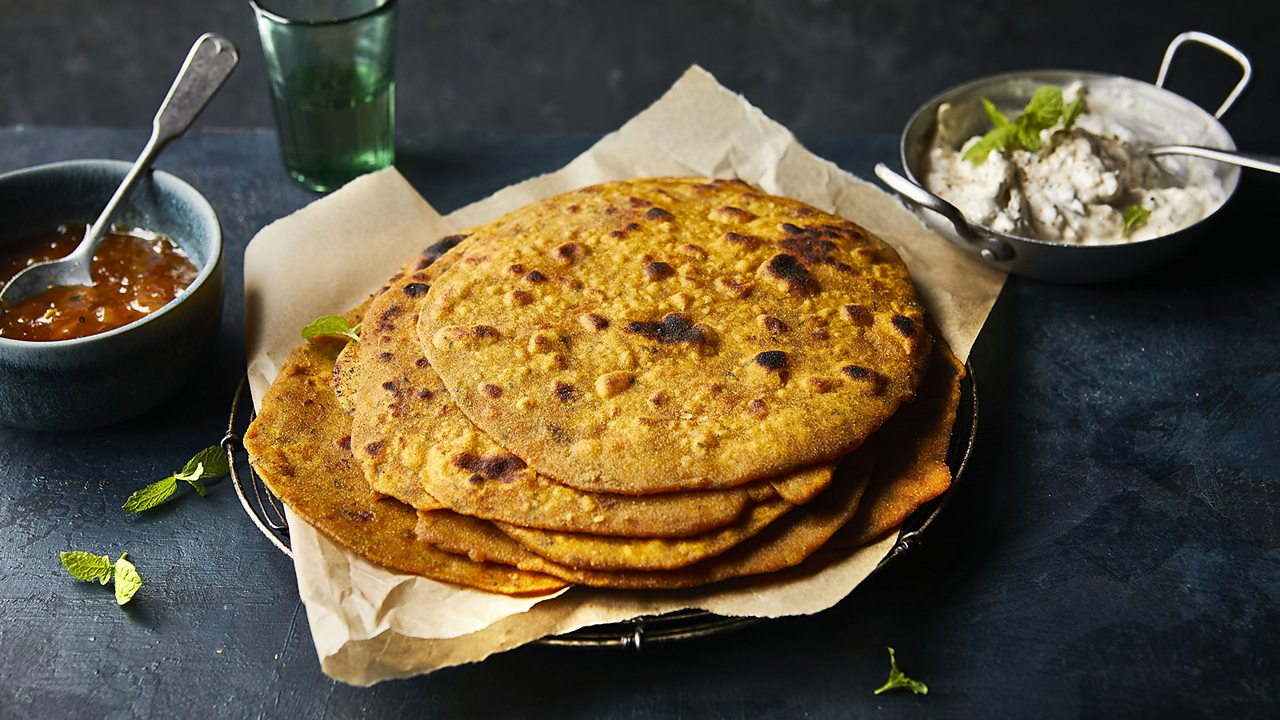 Red lentils form the basis of simple parathas