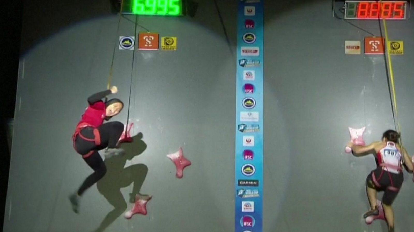 Does this woman climb faster than you run?