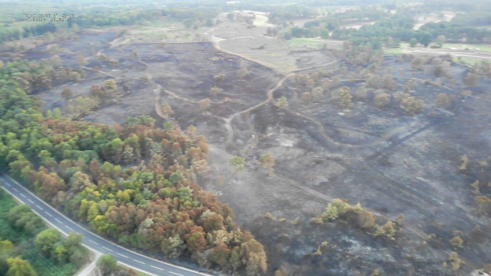 Drone footage shows heathland fire devastation
