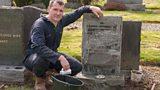 Grave cleaner Scott Williamson at work.