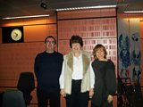 Richard, Pam Ayres and Sian in the studio