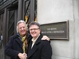 Michael and Pete from NAPAC outside Broadcasting House