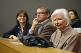 Sarah Harper, Hans Rosling and P.D. James wait to go on stage at the LSE