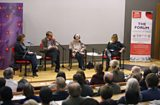 The Forum panel in front of the audience at the Sheikh Zayed Theatre at the LSE