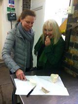 Marlena Spieler and Bronwen Percival tasting cheese.JPG