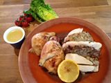 Sicilian Stuffed Roast Chicken & as an Easter treat 'Lime & Coconut Chocolate Truffles'