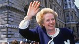 Margaret Thatcher outside Downing Street on general election day, 1987