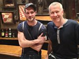 Declan Bennett and John Wilson on the set of the musical, Once
