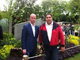Darren Hawkes, the designer of the SeeAbility garden with Martin