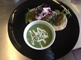 Spinach & Chickpea Fritter with Flat bread, Beetroot Cumin Dip and Nettle Soup