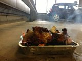 Jak barbecuing the chicken in the BBC car park
