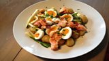 Lobster with Warm Potato Salad and Scallion Salad, Bacon Dressing and Soft Boiled Egg