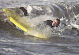 Ellie braves the winter waves