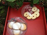 Raspberry Shortcake Biscuits and Blackberry and Lavender Powder Puff Cakes