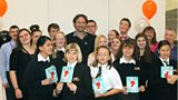 Marcus Sedgwick with pupils from Worcester New College