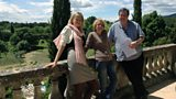 BBC Producer Karen Holden, Camus' daughter Catherine and Presenter Professor Andrew Hussey at Camus' home in Provence