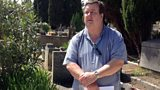 Presenter Professor Hussey at Camus' grave in Lourmarin, France